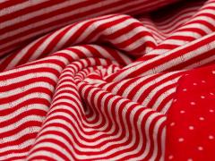 Jersey Interlock - Doubleface - Streifen - rot - weiß