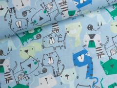 Baumwolle - Katzen - hellblau