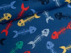 Baumwolle - Fischgräten - blau