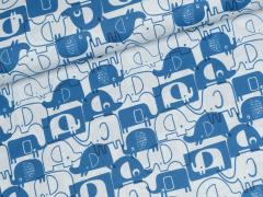 Baumwolle - Elefanten - hellgrau - blau