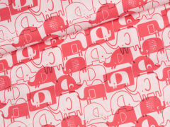 Baumwolle - Elefanten - rosa - pink