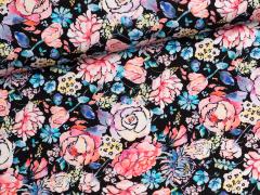 Jersey Single - Blumen - schwarz