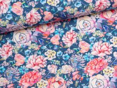 Jersey Single - Blumen - blau