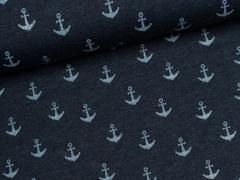 Jersey Single - Anker - dunkelblau meliert