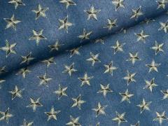 Reststück 0,75m Sweat - Star Crop - Sterne - Hilco - blau
