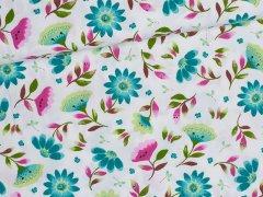Popeline - Florentina - Blumen - Hilco - weiß - grün