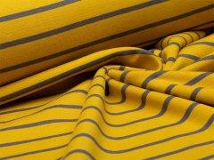 Reststück 0,90m - Sweat - Streifen -  gelb - grau