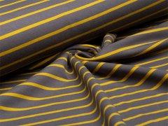 Reststück 0,35m - Sweat - Streifen -  grau - gelb