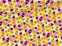 Reststück 0,75m - Sweat Soft - Triangel - hellgrün - lila - senf