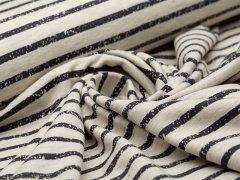 Jersey Single - Streifen - Vintage - natur meliert - dunkelgrau