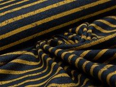 Jersey Single - Streifen - Vintage - dunkelblau - gelb