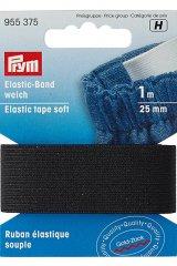 Elastic-Gummiband - weich - 1m - 25mm - Prym schwarz