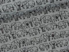 Baumwollstepp - Elephant Parade - Elefanten - grau