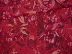 Leinen - Blumen Batik - rot