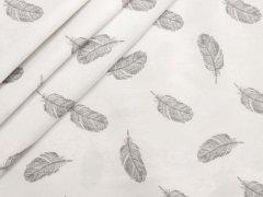 Reststück 0,75m - Baumwolle - Federn - Stenzo - grau - weiß