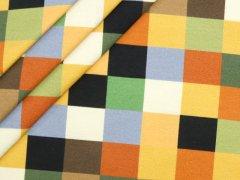 French Terry - Quadrate - gelb - orange - blau - Stenzo - weiss