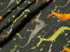 Jersey Single - Drache - grün - grau - orange - graugrün