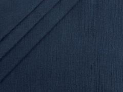 Reststück 0,90m - Musselin - Double Gauze - uni - dunkelblau