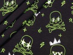 Jersey Single - Totenköpfe - neongelb - schwarz