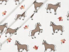 Jersey Single - Pferde - Blumen - weiß