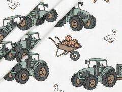 Jersey Single - Bauernhof - Trecker - Pferde - Kühe - Gänse - weiß