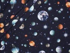 Sweat - Weltraum - Planeten - Sterne - dunkelblau - angeraut