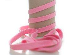Kordel - 12mm - flach - rosa - weiß
