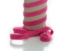 Kordel - 12mm - flach - pink - weiß