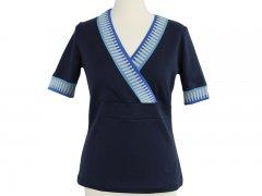 Summer Shirt Kim - inkl. Cuff Me - navy - Streifen blau Gr.44-48 o. Schnitt