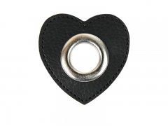 Patch - Herz - 11mm Öse - schwarz - silber 11mm