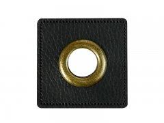 Patch - Quadrat - 11mm Öse - schwarz - altmessing brüniert 11mm