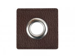 Patch - Quadrat - dunkelbraun - silber  11mm