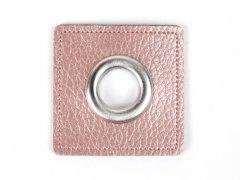 Patch - Quadrat - 11mm Öse - altrosa perlmutt - silber 11mm