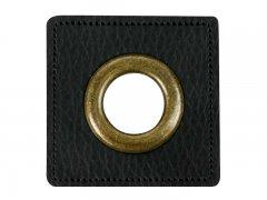 Patch - Quadrat - 14mm Öse - schwarz - altmessing brüniert 14mm