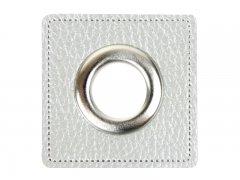 Patch - Quadrat - 14mm Öse - silber perlmutt - silber 14mm