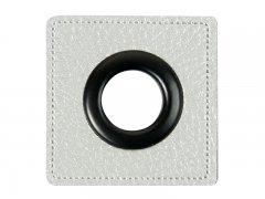 Patch - Quadrat - 14mm Öse - silber perlmutt - schwarz 14mm