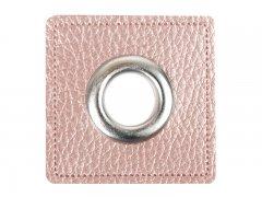 Patch - Quadrat - 14mm Öse - altrosa perlmutt - silber 14mm