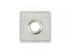Patch - Quadrat - 8mm Öse - silber per - silber 8mm