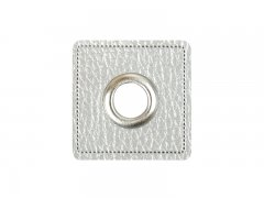 Patch - Quadrat - silber perlmutt - silber  8mm