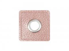 Patch - Quadrat - 8mm Öse - altrosa perlmutt - silber 8mm