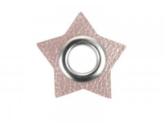 Patch - Stern - 11mm Öse - altrosa perlmutt - silber 11mm