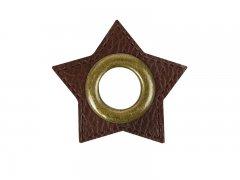 Patch - Stern - 11mm Öse - dunkelbraun - altmessing brüniert 11mm