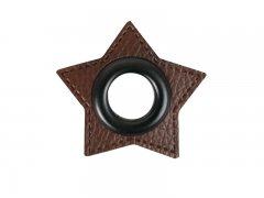 Patch - Stern - 11mm Öse - dunkelbraun - schwarz 11mm