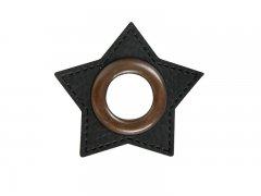 Patch - Stern - 11mm Öse - schwarz - altkupfer 11mm