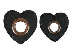Patch - Herz - schwarz - altkupfer
