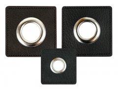 Patch - Quadrat - schwarz - silber