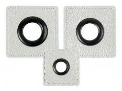 Patch - Quadrat - silber perlmutt - schwarz