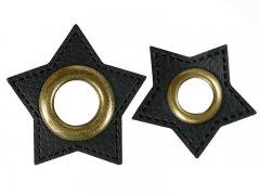 Patch - Stern - schwarz - altmessing brüniert