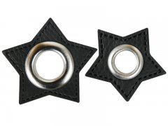 Patch - Stern - schwarz - silber