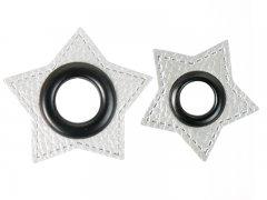 Patch - Stern - silber perlmutt - schwarz